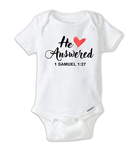 Juju Apparel Christian Onesie, He Answered Baby Girl Bodysuit Pink Heart, Christian Baby Gifts (0-3 Months)