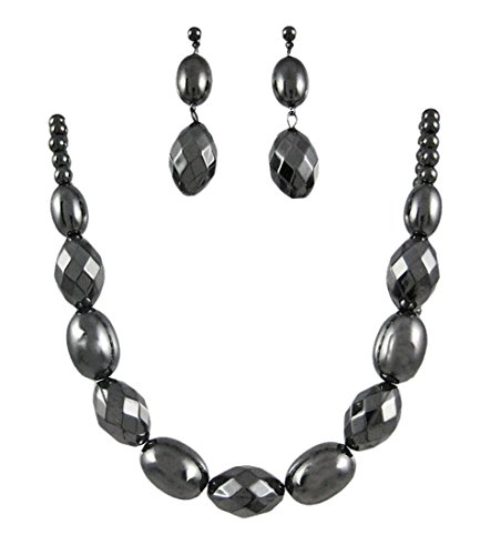 Iron Womens Earring And Necklace Sets Hematite Finish Faceted Bead Necklace / Earrings Set (Hematite Finish)