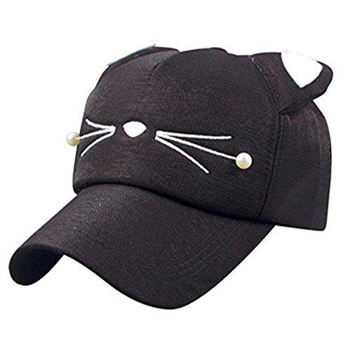 WENDYWU Baby Cartoon Baseball Cap Adjustable Strap Cat Ears Cap Sun Hat (Black)]()