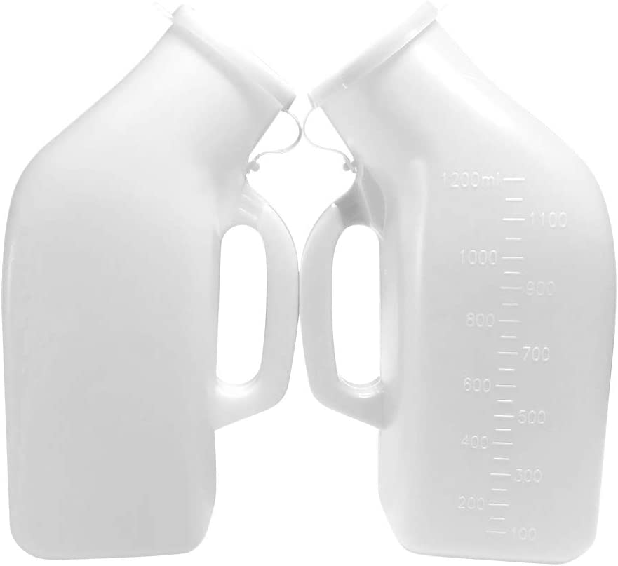 Urinals for Men Thick Firm Portable Urinal, Urine Collection for Hospital, Incontinence, Elderly, Travel Bottle and Emergency 2 Packs-1200ml (2 White): Health & Personal Care