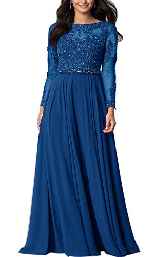 Aofur Womens Long Sleeve Chiffon Party Evening Dress Formal Wedding Prom Cocktail Ladies Lace Maxi Dresses (XX-Large, Blue)