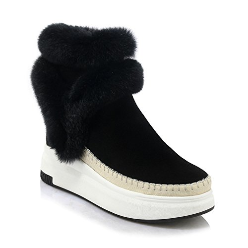 Special-Shop Women Ankle Boots Suede Leather Fashion Fur Zipper Wedges Shoes Woman Platform Winter Boots,Black,6.5 (Boot Platform Patchwork Knee)