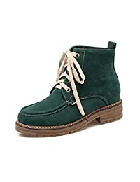 FeeBee Womens' Nubuck Leather Round Toe Lace-up Low Heel Martion Ankle Combat Boots