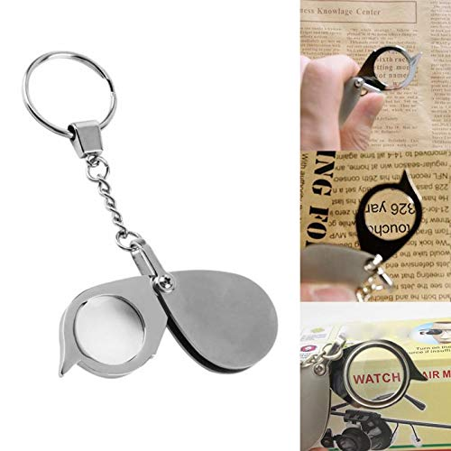 Magnif Glass - 8x 40x Folding Key Ring Magnifier With Chain Daily Magnifying Pocket Portable - Fold Magnify Magnifier Monoculo Lamp Microscope Fire Light Magnifying Zoom Jewel Lens Colo