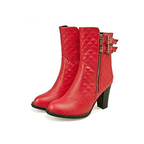 gruesas Otoño cinturón Invierno QX elegante hebilla e con los botas astilleros hembra ZQ botas grandes de corto cilindro del red SIw5Rzqq