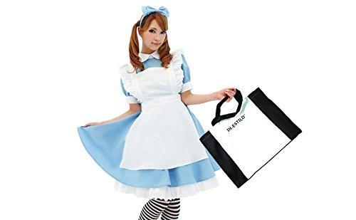 Alice Cosplay 4-teiliges Set (einteilige Kopfband Schürze · ESTILO Kostüm bag) Alice im Wunderland M Größe