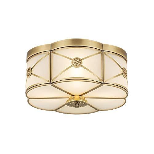(Mengzhu-Michelle 15W LED Ceiling Light, Retro Antique Copper Ceiling Lamp, Classic Glass Room Lighting, Round Luminaire L33 H15 cm, White Light Lamp; r Living Room Bedroom Dining Room Kit)