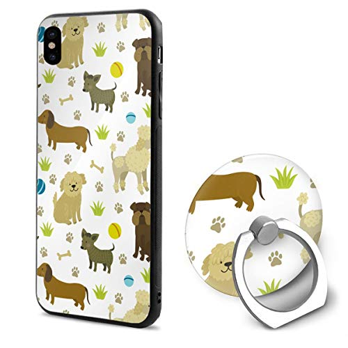 Bobtail Ring - Cute Bulldog Dachshund Bobtail Poodle iPhone X 5.8-Inch Case + Ring Stand Set - Protective Durable Shockproof Case for iPhone X/iPhone 10