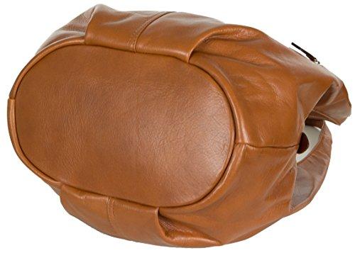 Taschenloft Damen Hobo Handtasche Leder | geräumige Beuteltasche mit 3 Fächern | 30x25x17cm Gold Braun
