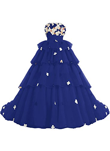Bbonlinedress Vestidos De Fiesta Largos De Noche Organdí Con Flores Cola Escote Bañera Zafiro Azul