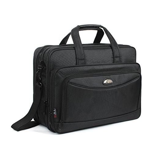 Expandable Laptop Computer Briefcase (17 Inch Laptop Bag, GES Laptop Briefcase Expandable Mens Travel Messenger Shoulder Bag Handbag Multifunction Black Business Office Bag Large Capacity Fits 15.6 inch Laptop/Computer/Tablet/Notebook)