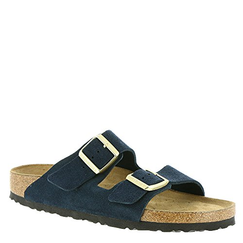Birkenstock Unisex Arizona Navy Suede Sandals - 9-9.5 2A(N) US Women/7-7.5 2A(N) US (Blue Suede Shoes Bar)