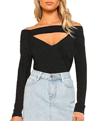 Automne Jumpers Femmes Blouse JackenLOVE Tops Pulls Manches Shirts Noir Hauts Bateau Slim Tee Col T Chemisiers et Creux Fashion Printemps Longues HHqnxwSaE