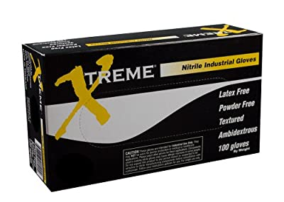 Xtreme Powder Free Textured Industrial Grade Nitrile Gloves, Case (1000)