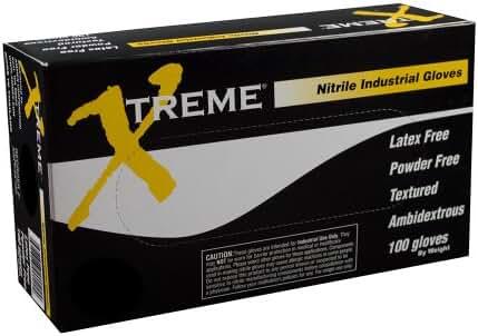 Xtreme Powder Free Textured Industrial Grade Nitrile Gloves, Case (1000)
