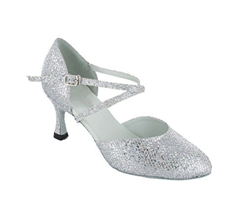 Silver Ankle Synthetic Latin TDA Glitter Modern Tango Dance Toe Wedding Strap Colsed Womens Shoes x5wY1AYqO