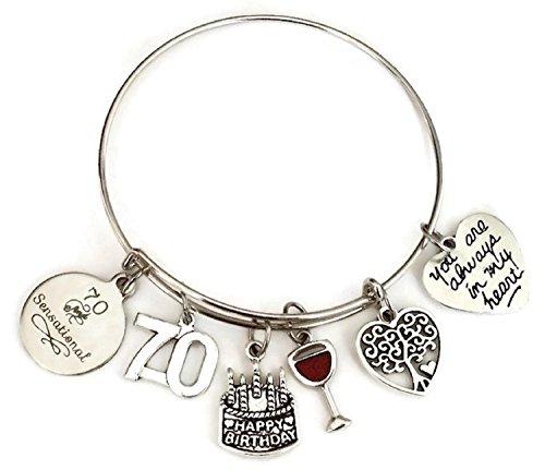 Kit's Kiss 70th Birthday bracelet, Birthday gift for Women, 70 and Fabulous bracelet, Birthday bangle bracelet, Birthday charm, Tree of Life charm, Birthday bangle jewelry (70th ()