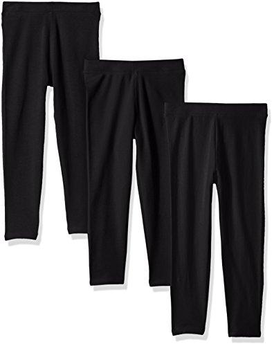 Amazon Essentials Big Girls' 3-Pack Leggings, Black/Black/Black, M (8)