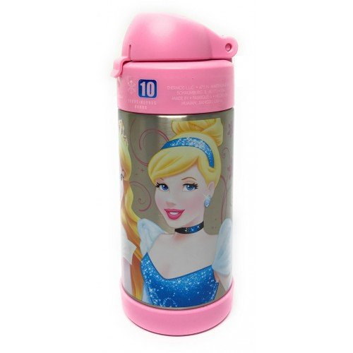 Thermos FUNtainer Vacuum Insulated Stainless Steel Kids Drinkware Bottle with Straw, 10 Ounce - Tasteless and Odorless, BPA Free, Portable & Great for Children, Travel and Lunchboxes - Disney Princess