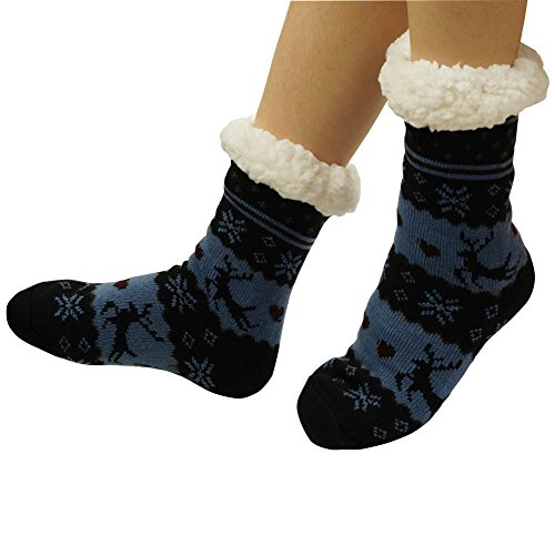 Fleece Lining Fuzzy Soft Warm Winter Slipper Socks With Non Skid Soles black (Double Sock Sole)