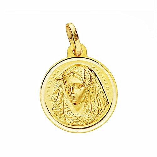 Médaille pendentif 16mm or 18k Virgen Macarena. lunette lisse [AA2587GR] - personnalisable - ENREGISTREMENT inclus dans le prix