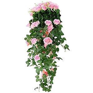 Wenyujh Artificial Rose Garland Wall Hanging Silk Flowers Rattan Ivy Vine for Wedding Party Garden Decoration 73