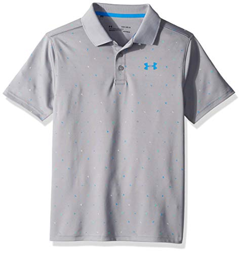 Under Armour Boys' Performance Novelty Polo, Steel (035)/Blue Circuit, Youth X-Small