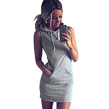 Coromose Fashion Womens Summer Casual Sleeveless Hoody Dress