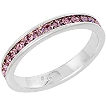 """Sterling Silver Stackable Eternity Band, June Birthstone, Alexandrite Crystals, 1/8"""" (3 mm) wide"""