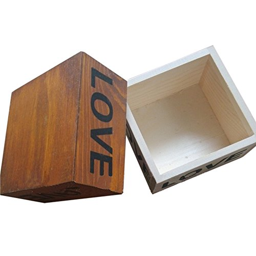 Brown Love Wooden Box Handmade Trinket Storage Keepsake Jewelry Name Card Holder