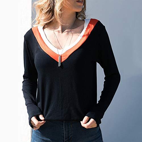 Blouse Mode Col Femmes Manches Automne Block Shirt Chemise Color hiver Xinantime T Femmes Longues Casual V Patchwork Noir Tops Haut X4PxwqT