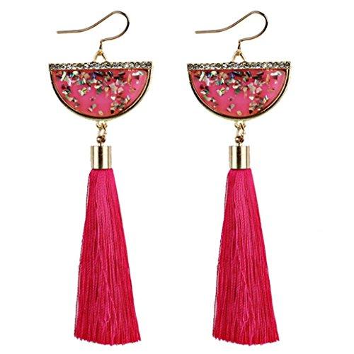 Beuu Fan Shaped Tasseled Ladies Earrings Vintage Women Bohemian Long Tassel Fringe Dangle Jewelry - Ball Earrings Vintage In