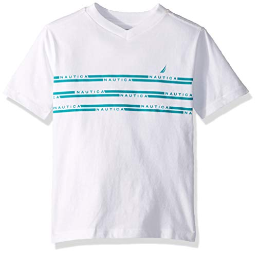 Nautica Big Boys' Short Sleeve Striped V-Neck T-Shirt, Gavin White Large (14/16)