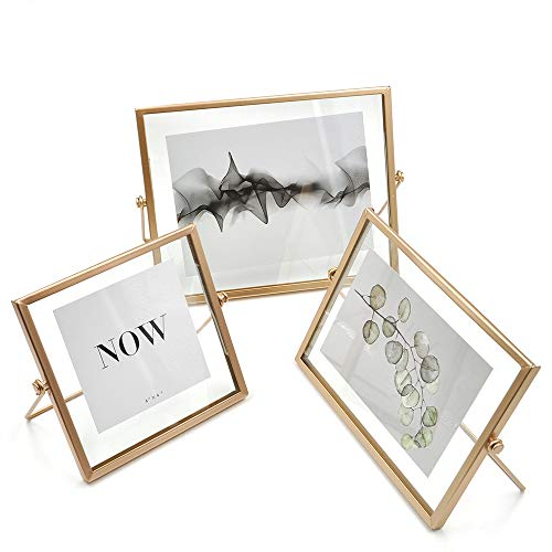 (AceList Set of 3 Rose Gold Pressing Glass Photo Frame Collection Metal Picture Frame Decor with Plexiglas Cover Includes 4