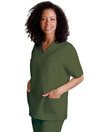 Adar Universal Unisex V-Neck Tunic Top 3 Pockets - 601 - Olive - XXS (Kay Top Mary Coat)
