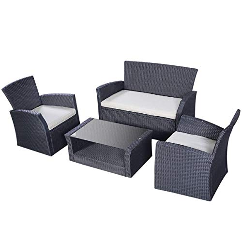 TANGKULA Patio Furniture Set Outdoor Poolside Cushioned Wicker Sectional Sofa Set Balcony Conversation Set For Sale