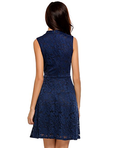 Meaneor Women's Sleeveless Lace Dresses for Special Occasions,Navy Blue,L