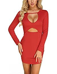 Women Mini Dress Sexy Bodycon Long Sleeves Zipper Back Party Cocktail c2fb47e70