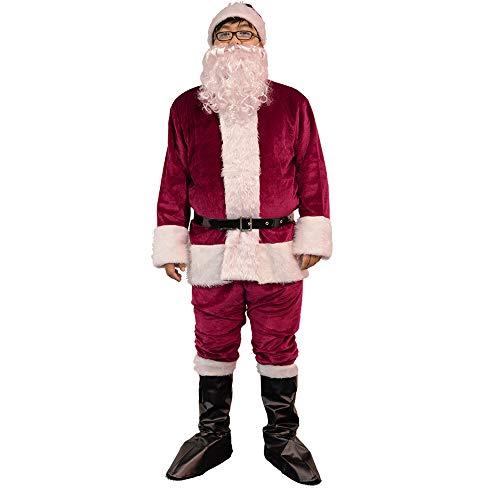 Luxanna Santa Claus Suit Professional Santa Suit Men's Adults Costume for Christmas Holida Crimson]()