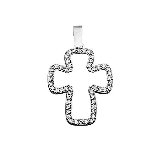 Croix pendentif 18k or blanc zircone cubique hangar [AA4978]