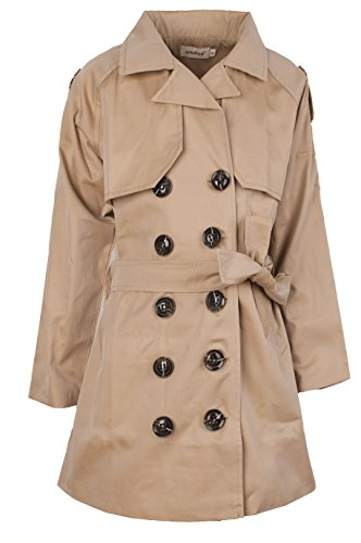 (Ipuang Girl's Cotton Long Sleeves Trench Jacket Dress Coats Camel Waterproof 14)