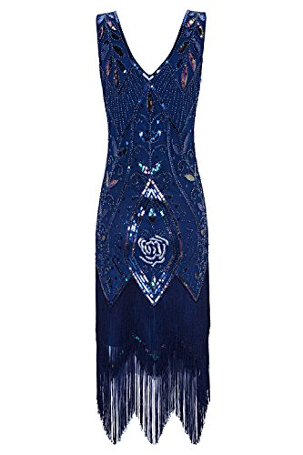 Metme Women's 1920s Vintage Flapper Fringe Beaded Great Gatsby Party Dress (M, Navy)
