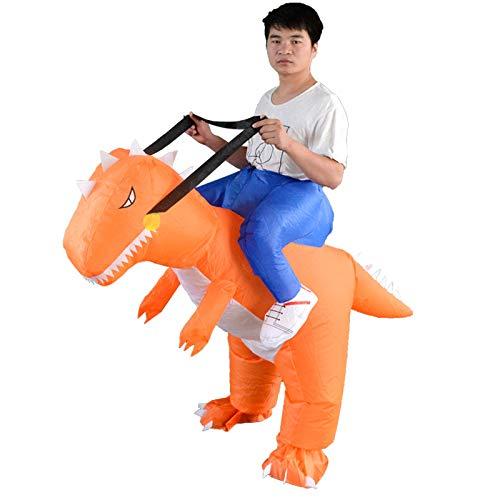 XuBa Inflatable Orange Dinosaur Adult Costume Riding Horse