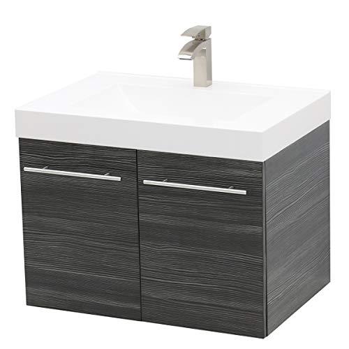 (WindBay Wall Mount Floating Bathroom Vanity Sink Set. Dark Grey Vanity, White Integrated Sink Countertop - 23.25