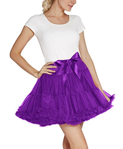 Urban CoCo Women's Petticoat Fancy Tutu Skirt Ballet Crinoline Underskirt (L, Grape) by Urban CoCo (Image #3)