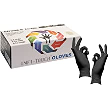 Heavy Duty Nitrile Gloves - Infi- Touch Black and Tough, High Chemical Resistant and Powder Free Gloves - (100 Count, Extra Large)