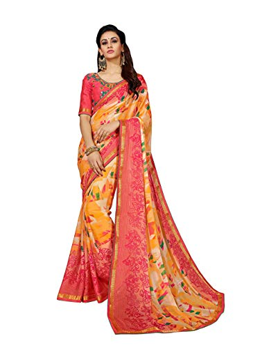 Sutram Women's Orange Georgette Printed Saree with Blouse ()