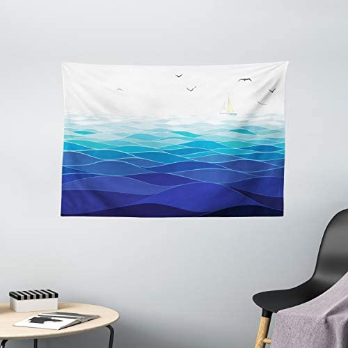 Ambesonne Aqua Tapestry, Graphic Ocean Waves Sailboat with Birds Seagulls Seascape Horizon Maritime, Wide Wall Hanging for Bedroom Living Room Dorm, 60 X 40 , Cobalt Blue