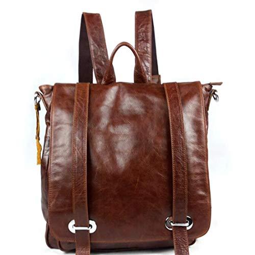 School Hiking Teens Brown Men Bookbag Travel Leather For vintage Boys College Joyiyuan Backpack color Brown BxfnXqURw8
