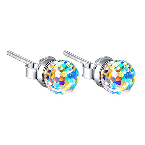 Newshe Stud Earrings for Women 925 Sterling Silver Aurora Rainbow Borealis Crystal Jewelry Girl Gift